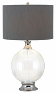 Kenroy Home 32024GCH Celestial Chrome Accent Drum Shade 29 Inch Tall Glass Table Lamp