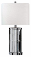 Kenroy Home 32097CHM Lustre Chrome Mirror 28 Inch Tall Drum Shade Bed Lamp