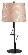 Kenroy Home 32185OBZ Spinner Contemporary Style Oxidized Bronze Table Light With Patterned Taupe Shade