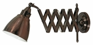 Kenroy Home 32197CBZ Floren Swing Arm 10 Inch Tall Copper Bronze Extending Wall Lamp