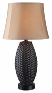 Kenroy Home 32203BRZ Sunset Bronze Rattan Weave 26 Inch Tall Lighting Table Lamp