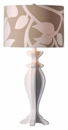 Kenroy Home 32238WH Profile 30 Inch Tall Contemporary White Table Lamp With Patterned Drum Shade
