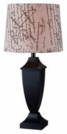 Kenroy Home 32253BL Bauer 30 Inch Tall Modern Black Table Lamp With Printed Shade