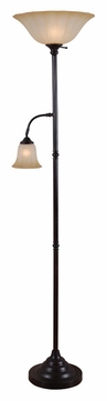 Kenroy Home 32264GBRZ Jubilee Golden Bronze Finish Torchiere Lamp With Reading Light