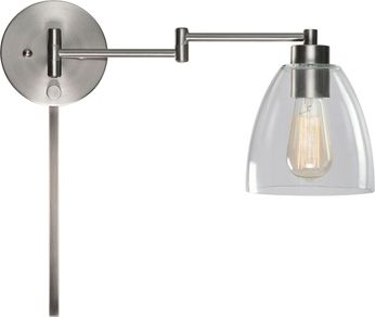 Kenroy Home 33077BS Edis Contemporary Brushed Steel Swing Arm Wall Lamp