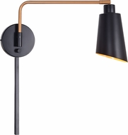 Kenroy Home 35330BL Alvar Modern Matte Black with Gold Accents Wall Swing Arm Lamp