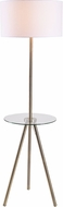 Kenroy Home 35342AB Nash Modern Antique Brass with Clear Glass Tray Floor Lamp Light