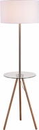 Kenroy Home 35342WDG Nash Contemporary Wood Grain and Antique Brass with Clear Glass Tray Light Floor Lamp