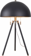 Kenroy Home 35345BL Trey Modern Black and Antique Brass with Gold Shade Interior Table Lamp
