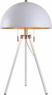 Kenroy Home 35345WH Trey Modern White and Antique Brass with Gold Shade Interior Table Light