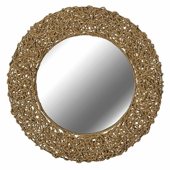 Kenroy Home 60203 Seagrass 32 Inch Diameter Round Wall Mounted Mirror - Natural Seagrass