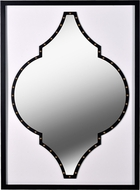 Kenroy Home 60440 Casablanca Faux White Leather, Black Wood, Antique Brass Accents Wall Mirror