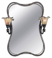 Kenroy Home 90890TS Inverness 2 Lamp Traditional Tuscan Silver Wall Mounted Mirror
