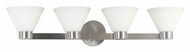 Kenroy Home 91794BS Maxwell Brushed Steel Finish 34 Inch Wide 4 Lamp Transitional Vanity Light