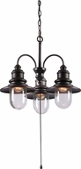 Kenroy Home 93033ORB Broadcast Oil Rubbed Bronze with Copper Highlights Outdoor Mini Chandelier Light