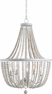 Kenroy Home 93132WW Dumas Modern White with Distressed White Beads Chandelier Lighting