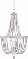 Kenroy Home 93133WW Regas Modern White with Weathered White Beads Mini Lighting Chandelier