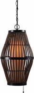 Kenroy Home 93390RAT Biscayne Contemporary Rattan with Bronze Accents Outdoor Hanging Pendant Light