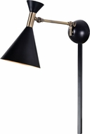 Kenroy Home 93790BL Arne Modern Matte Black with Antique Brass Wall Swing Arm Lamp