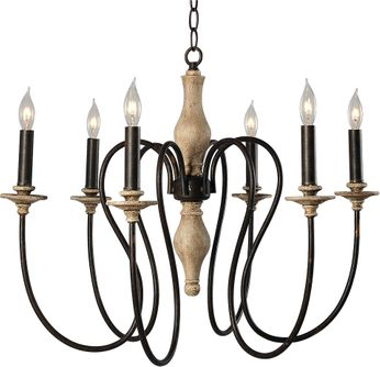 Kenroy Home 93846WW Lisbeth Weathered White with Gold Highlights Chandelier Light