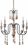 Kenroy Home 93865WH Alexandra Weathered White Chandelier Light