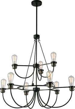 Kenroy Home 93899BL Damien Contemporary Black with Plated Antique Brass Chandelier Lamp