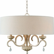 Kenroy Home 93907WH Marcella Weathered White with Gold Highlights Drum Pendant Lighting Fixture