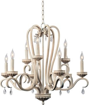 Kenroy Home 93909WH Marcella Weathered White with Gold Highlights Hanging Chandelier