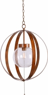 Kenroy Home 93912WD Olivia Contemporary Wood Grain Outdoor Hanging Pendant Light