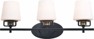 Kenroy Home 93948BL Marco Modern Matte Black with Antique Brass and White Glass 3-Light Bathroom Lighting Fixture