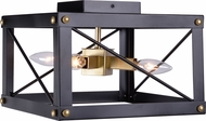 Kenroy Home 94033BL Courtney Contemporary Black and Gold Flush Mount Ceiling Light Fixture