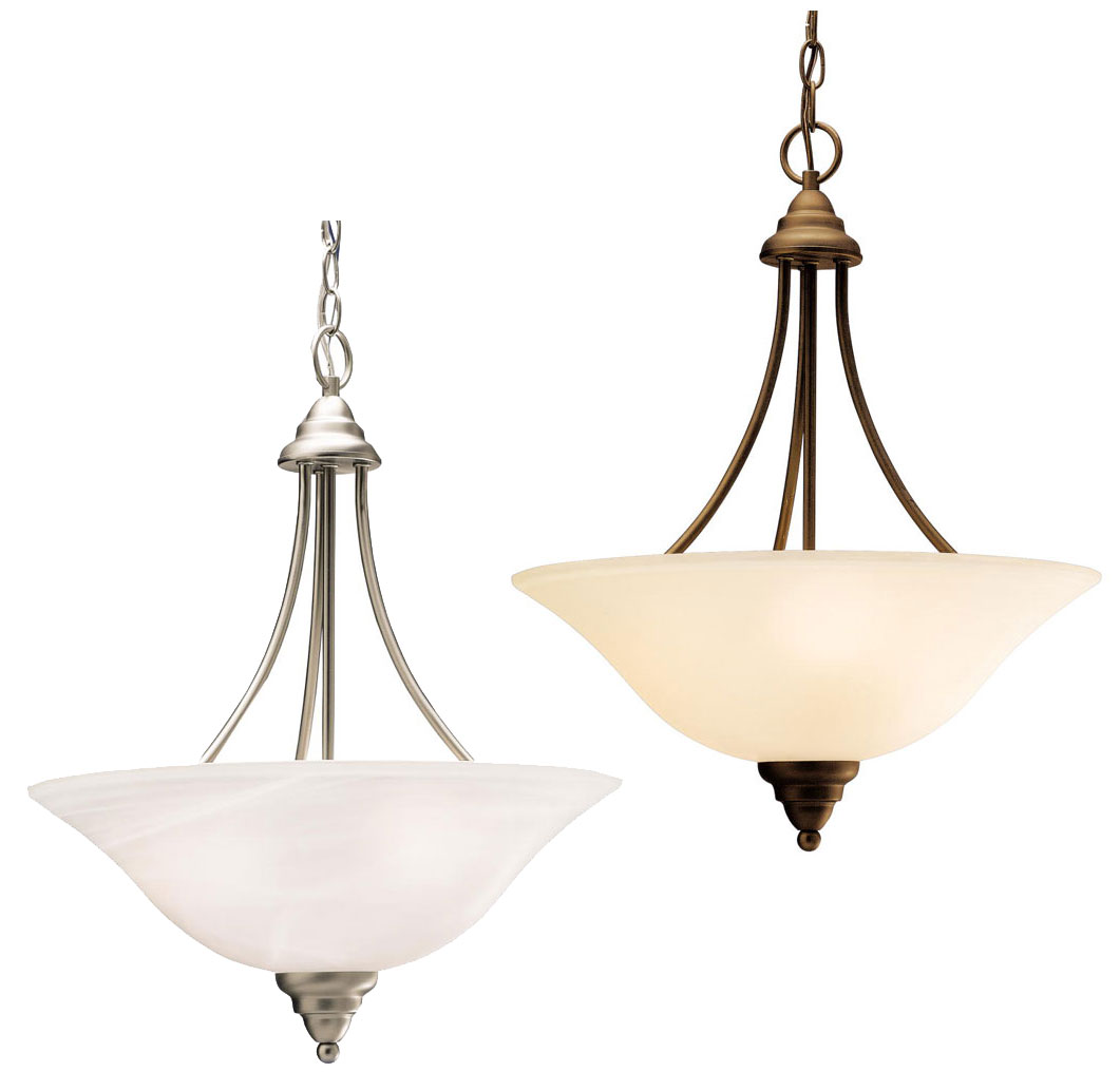 Kichler 3277 telford 3 light 18 inch diameter inverted pendant light fixture