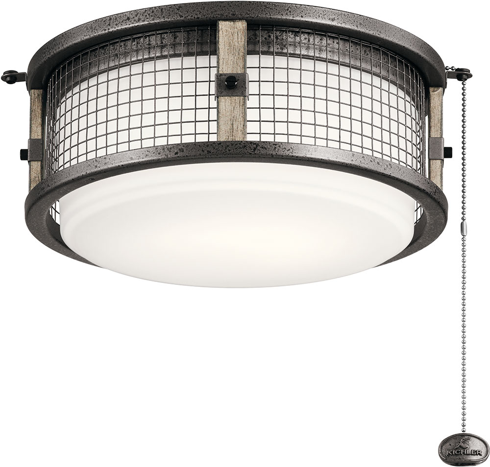 Kichler 380949avi Ahrendale Contemporary Anvil Iron Led Indoor Outdoor Ceiling Fan Light Fixture Loading Zoom