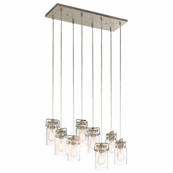 Kichler 42890NI Brinley Retro Brushed Nickel Finish 7.75  Tall Multi Pendant Light Fixture