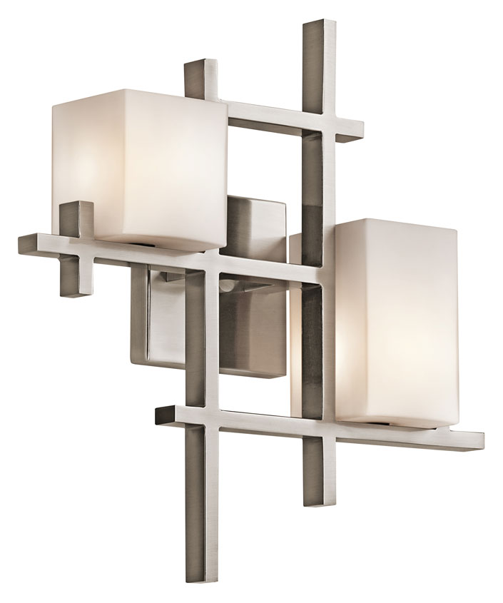 Kichler 42942clp City Lights Modern 16 Inch Tall 2 Lamp Contemporary Wall Sconce Lighting Clic Pewter