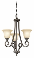 Kichler 43155OZ Monroe 23 Inch Diameter Olde Bronze 3 Lamp Small Chandelier