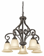Kichler 43158OZ Monroe 5 Lamp Antique 27 Inch Diameter Medium Olde Bronze Chandelier - Downlight