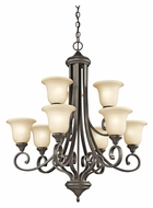 Kichler 43159OZ Monroe Large Olde Bronze Traditional 33 Inch Diameter Chandelier Light - 9 Lamps