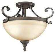 Kichler 43169OZ Monroe Semi Flush Mount Traditional 17 Inch Diameter Bowl Ceiling Lamp