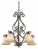 Kichler 43225OZ Camerena Medium Old Bronze 27 Inch Diameter 5 Lamp Downlight Chandelier