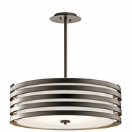 Kichler 43390OZ Roswell Contemporary Olde Bronze Drum Pendant Lighting