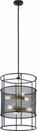 Kichler 43596BK Piston Contemporary Black Drum Hanging Pendant Lighting