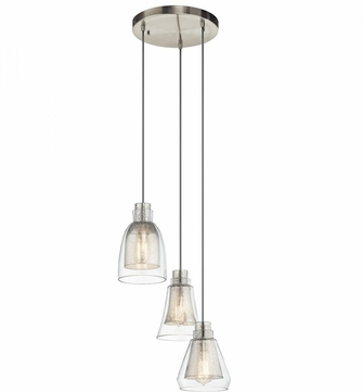Kichler 43627NI Evie Contemporary Brushed Nickel Multi Ceiling Light Pendant