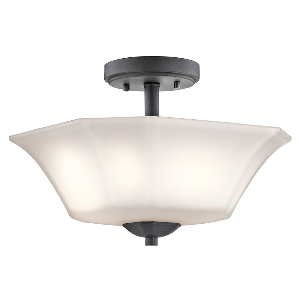 Kichler 43636bk serena black flush mount lighting fixture kic 43636bk