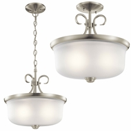 Kichler 43942NI Bixler Brushed Nickel Pendant Lighting / Flush Mount Light Fixture