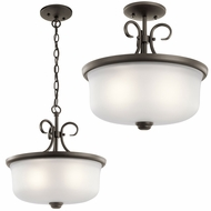 Kichler 43942OZL16 Bixler Olde Bronze LED Pendant Lamp / Flush Mount Ceiling Light Fixture