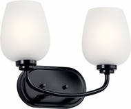 Kichler 45128BK Valserrano Modern Black 2-Light Bathroom Light