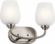 Kichler 45128NI Valserrano Contemporary Brushed Nickel 2-Light Bathroom Lighting Fixture