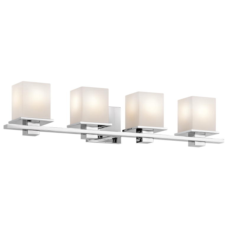 Kichler 45152ch Tully Contemporary Chrome Finish 6 5 Nbsp Tall 4 Light Bathroom Lighting Fixture Loading Zoom