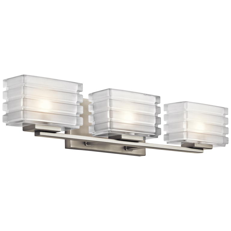 Kichler 45479ni Bazely Modern Brushed Nickel Finish 24 Nbsp Wide Halogen 3 Light Bathroom Vanity Loading Zoom